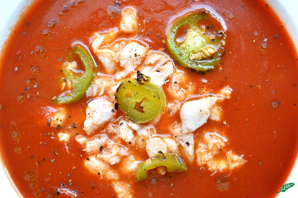 Tomato Soup with Crab and Jalapeño