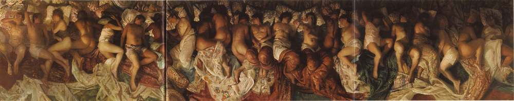 "Vincent Desiderio's painting ""Sleep"", which is thought to be the inspiration for the video."