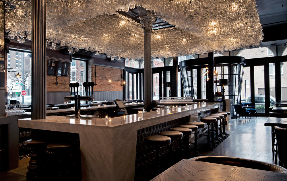 The chandelier bar at the boarding house