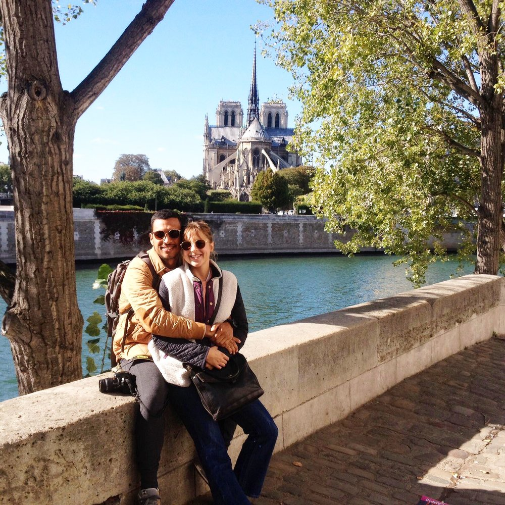 back of notre dame and seine river photo