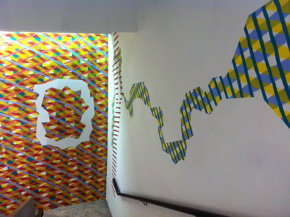 Localized contagion, house paint on wall, entire stairwell, Praxis Gallery, New York, 2015-2016