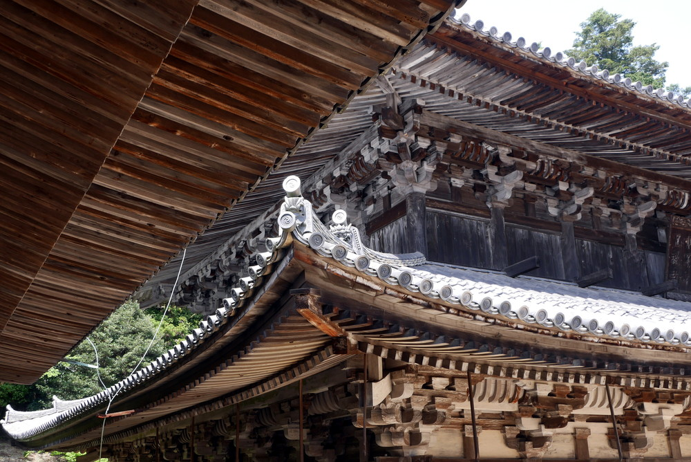 Wooden roof details at Engyoji Temple, Himeji