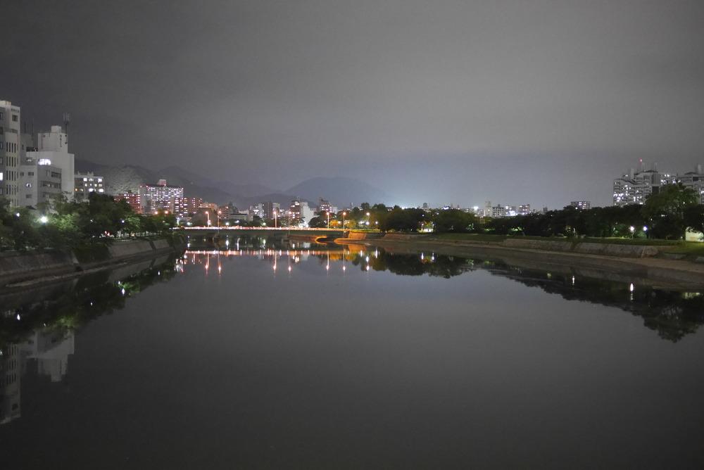 Hazy night time reflection, Hiroshima