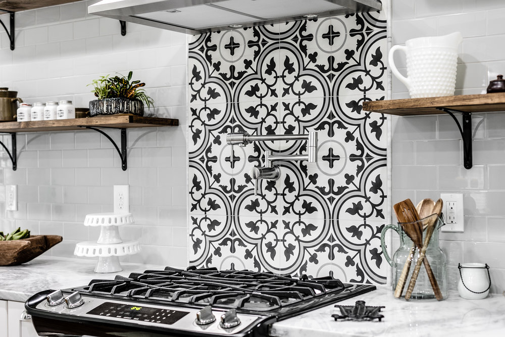 richmond rehabbers black white tile kitchen