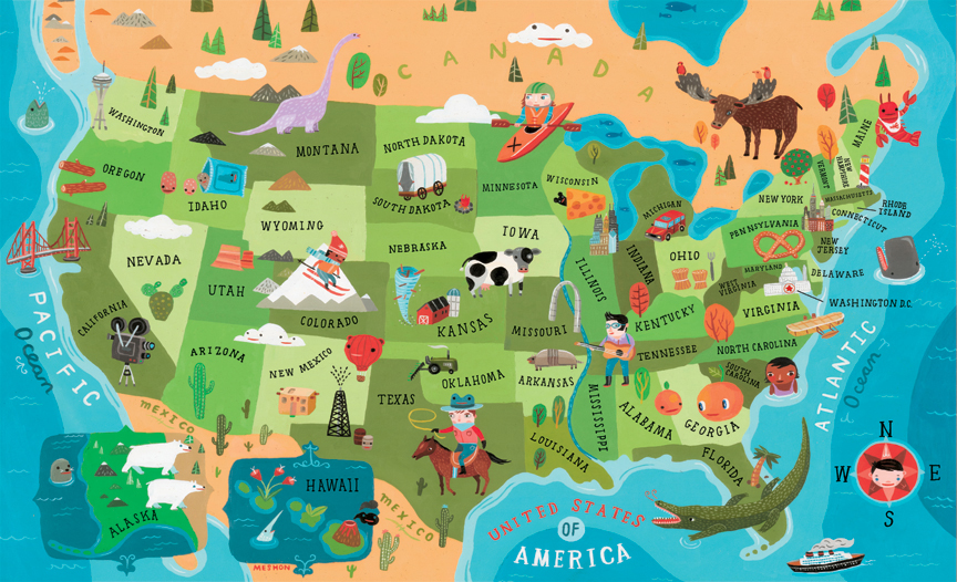 USA MAP Aaron Meshon Illustration - Maps of usa