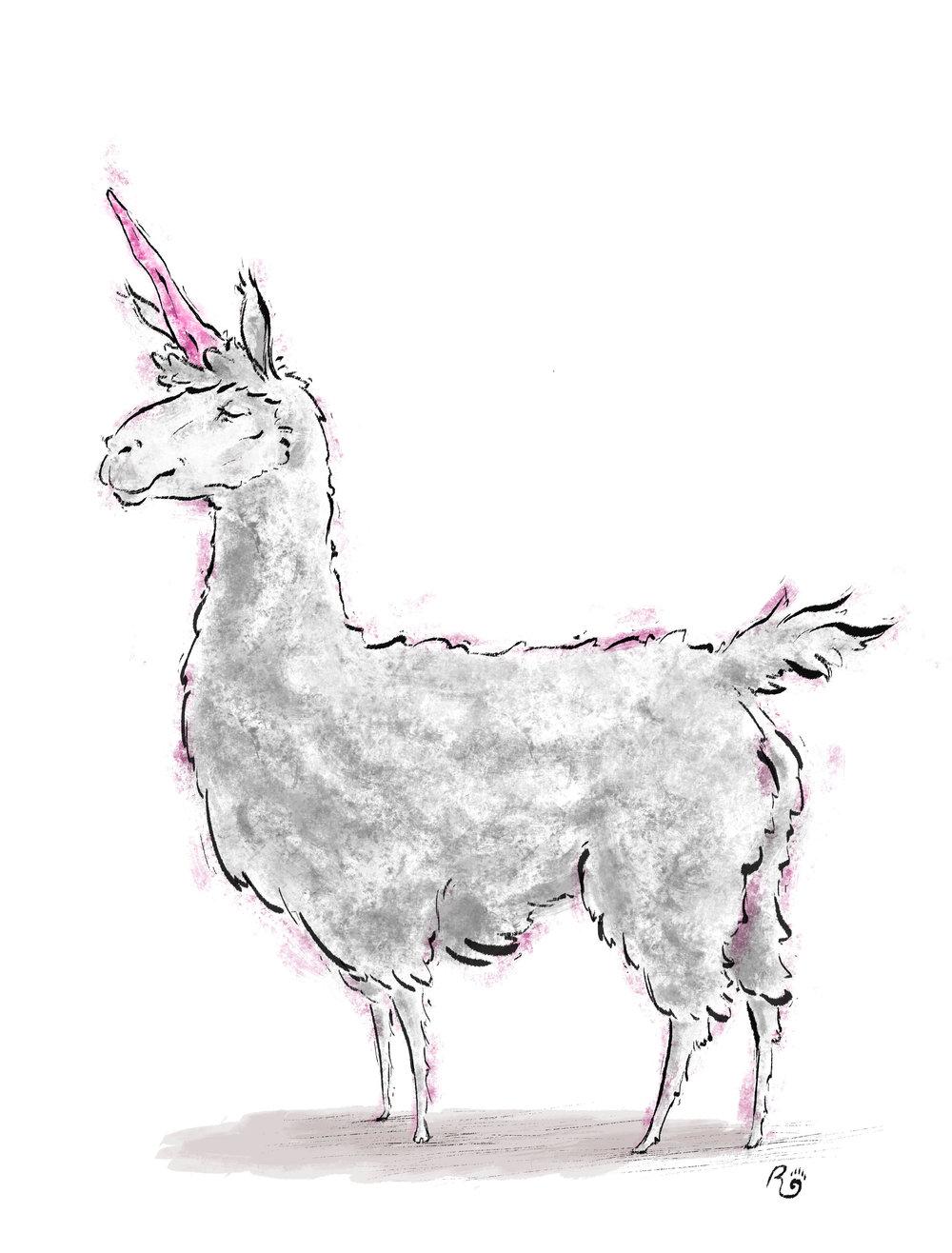 Uni-Horn Llama (2016) 15X11 Inches