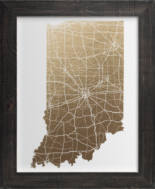 State Art Print, Gold Foil Artwork