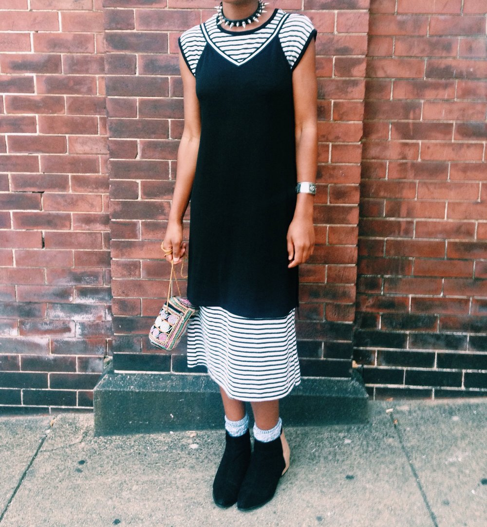 Comfy and casual plus. This outfit is a mix of old and new, with a heavy amount thrifted.   Get the look:  striped dress  /  black slip dress  /  studded choker /