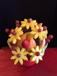 Ling Bouquet   Cantaloupe , honeydew, grapes, strawberries and pineapple daises.  This is a wonderful fresh fruit bouquet for any occasion, we can add dipped chocolate berries or leave plain.  $52/$62/$72   Send Request