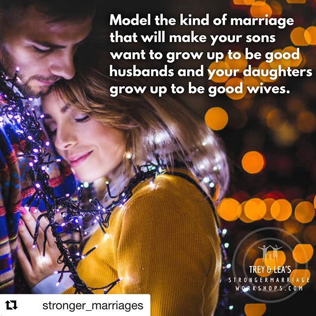 Your children are learning how to do marriage from watching you. Make sure you're teaching them well.  #Repost @stronger_marriages with @get_repost  Follow Trey & Lea at @Stronger_marriages for more marriage tips