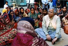 MUhammad Yunus with the poor women in villages