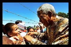Mandela with his supporters.
