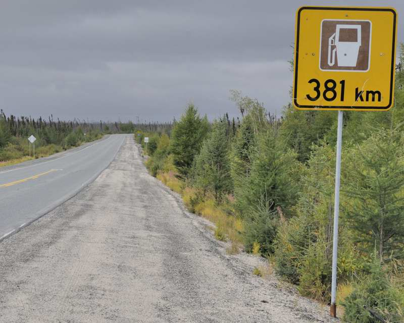 Photo from the 620-km unnumbered municipal James Bay Highway between Matagami and Radisson in northern Quebec, Canada (Courtesy of Oscar from AA Roads Forum (www.aaroads.com), Topic:   Longest signed interval between gas stations.)