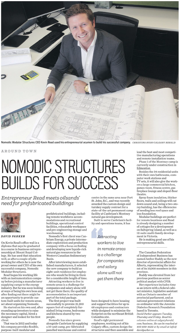 Nomodic Kevin Read Calgary Herald article