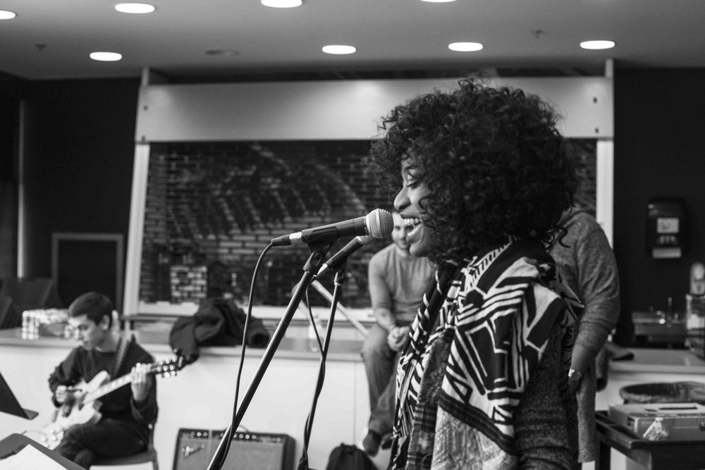 Vocalist Shenel Johns from NYC in Modern Warrior rehearsal