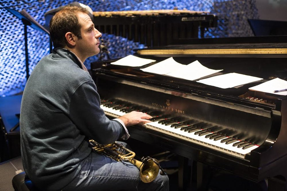 "Dominick Farinacci working on an arrangement of ""Battle Hymn of the Republic,"" the closing song of  Modern Warrior."