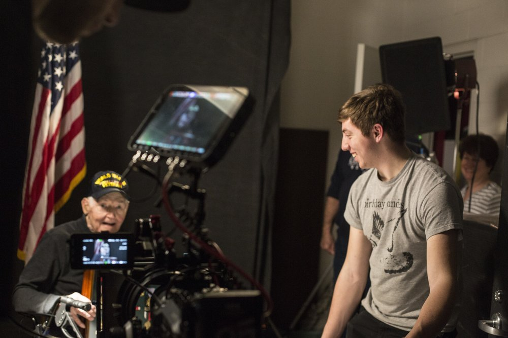 Video shoot with a World War 2 veteran, for the final multimedia scene of  Modern Warrior .