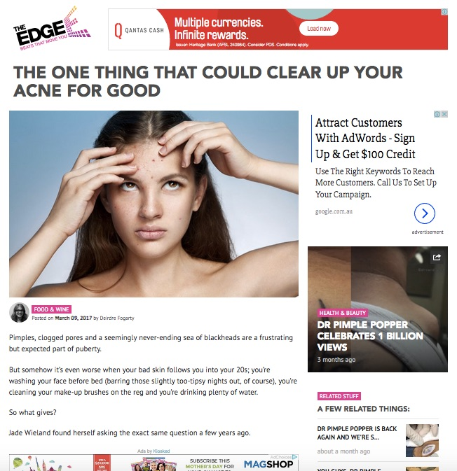 Proud to be featured on the Edge Lifestyle for our Innovative Acne Treatments.