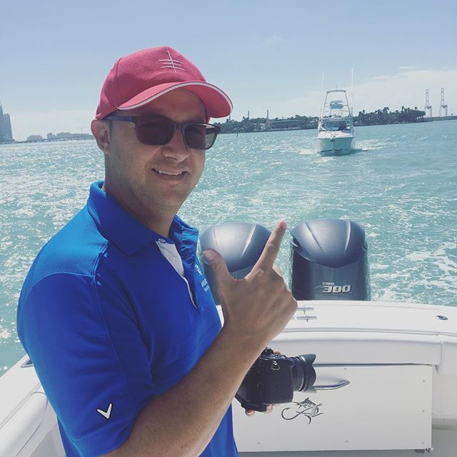 Getting this perfect shot. What it's all about. Thanks @jeffthedronepilot for the 📷 / capturing the new line of @albemarleboats for @marinevideopro // #albemarle #yachtphotographer #videoagency #yachtlife #miamiphotographer #biscaynebay #gh5
