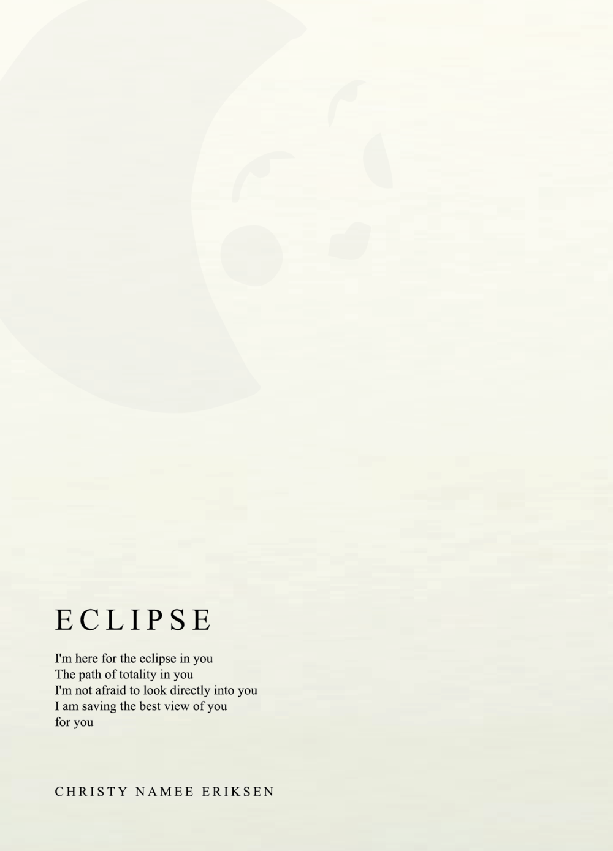 Eclipse (letterpress poem + pin)
