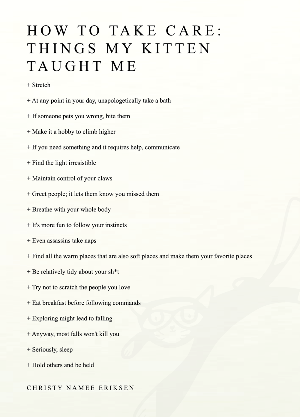How to Take Care: Things My Kitten Taught Me (letterpress poem + pin)
