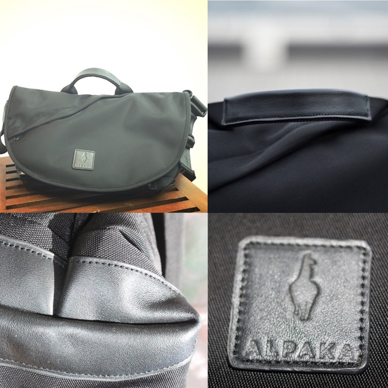 Leather detailing on the ALPAKA 7ven bag