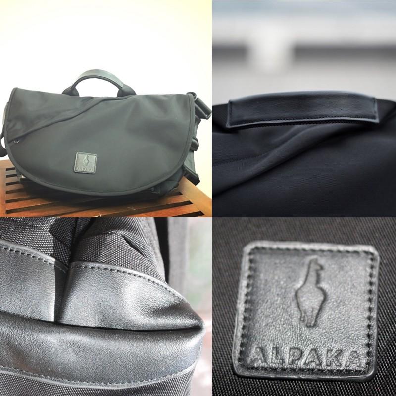 Leather detailing on the ALPAKA 7ven bag