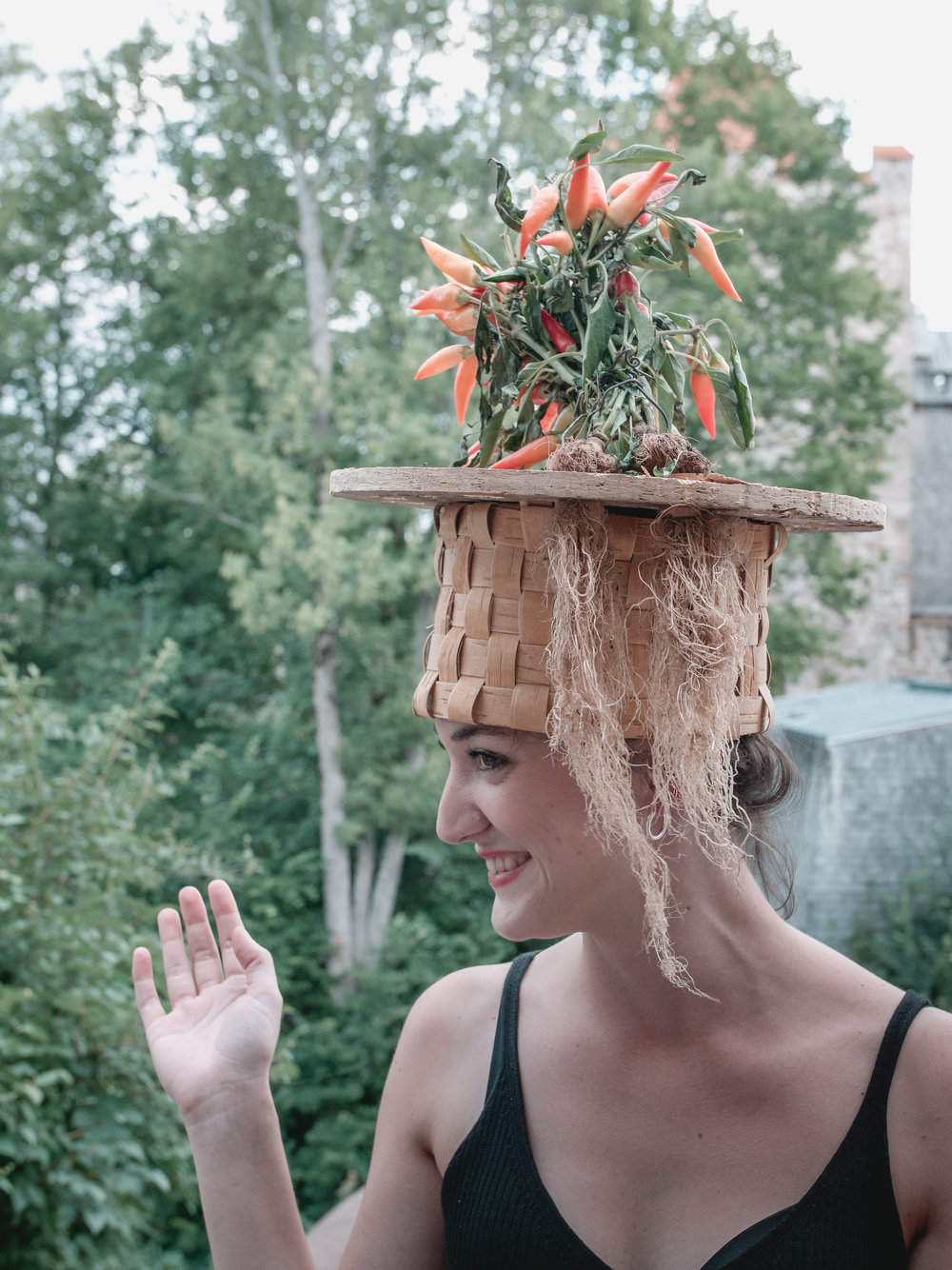 a hat to grow peppers or tomatoes by Laura Pazo    photo by Ivars Burtnieks
