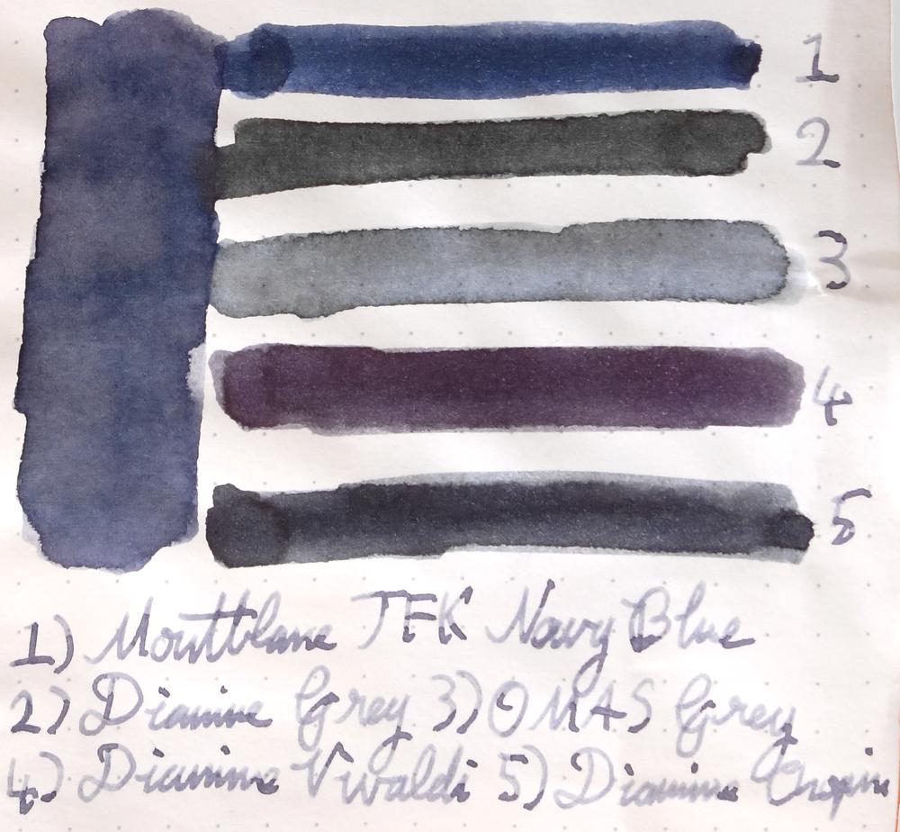 1 - Montblanc JFC Navy Blue. 2 - Diamine Grey. 3 - OMAS Grey. 4 - Diamine Vivaldi. 5 - Diamine Chopin.