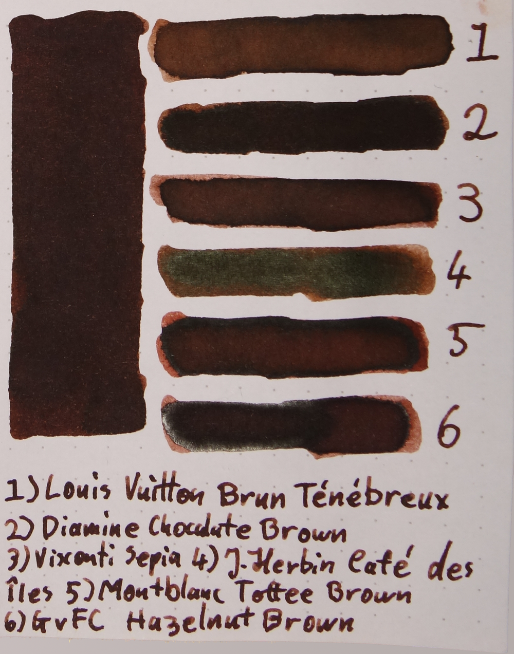 1) Louis Vuitton Brun Ténébreux, 2) Diamine Chocolate Brown, 3) Visconti Sepia, 4) J. Herbin Café des Îles, 5) Montblanc Toffee Brown, 6) Graf von Faber-Castell Hazelnut Brown.