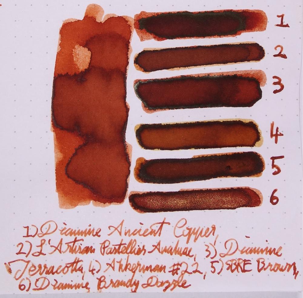 1) Diamine Ancient Copper; 2 )L'Artisan Pastellier Anahuac; 3) Diamine Terracotta; 4) Akkerman #22 Hopjesbruin; 5) SBRE Brown; and 6) Diamine Brandy Dazzle