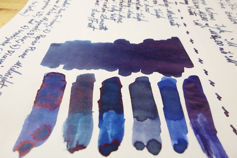 On Tomoe River (left to right): 1) Iroshizuku Shin-kai; 2) Bungubox 4B; 3) Diamine Oxford Blue; 4) Caran d'Ache Magnetic Blue; 5) Papier Plume Midnight Blue; and 6) Noodler's Kung Te-Cheng.
