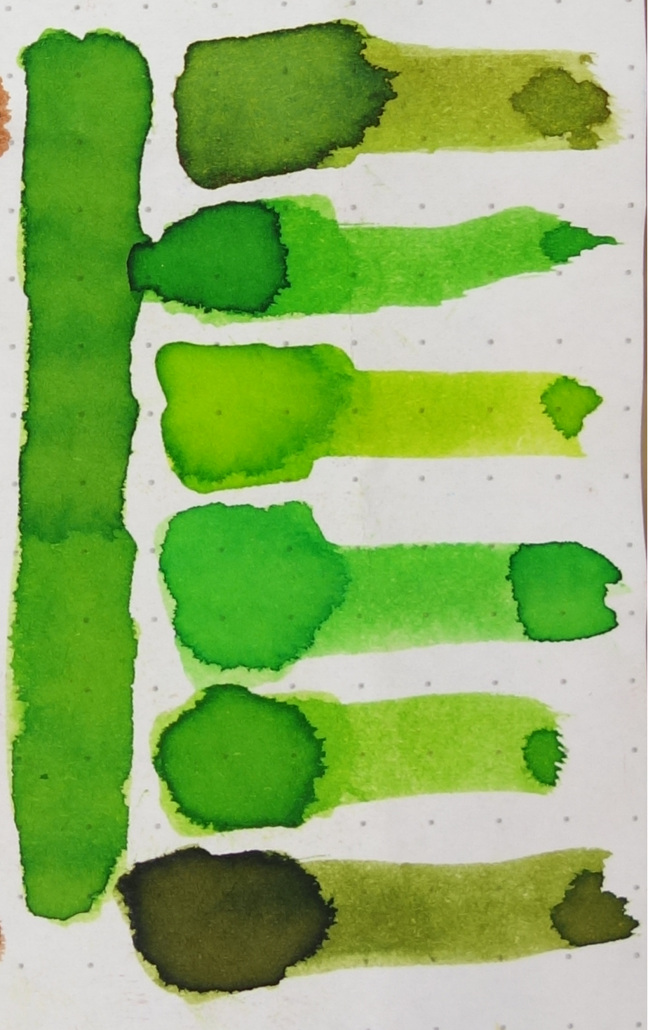 Top to bottom: 1) Iroshizuku Chiku-Rin; 2) Robert Oster Lime Green; 3) J. Herbin Vert Pré; 4) Robert Oster Light Green; 5) Diamine Meadow; and 6) Rohrer & Klingner Alt-Goldgrün