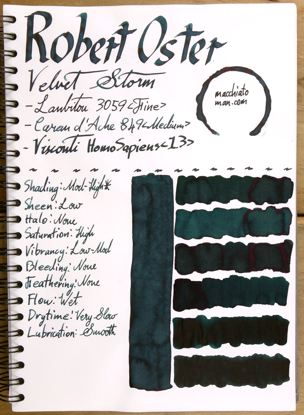 Top to bottom: Robert Oster Green at Night, Robert Oster River of Fire, Lamy Petrol, Noodler's Dromgoole's USS Texas, Noodler's Air Corps Blue-Black, Noodler's 54th Massachusetts.