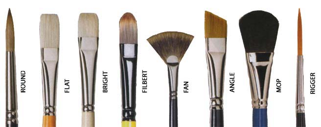 These are some commonly used shapes for brushes.