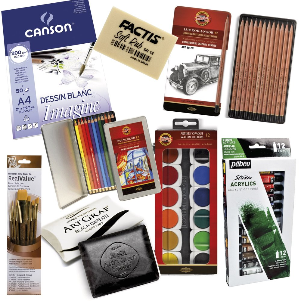 1. Canson Imagine A4 size pad  2. Koh-i-Noor Polycolor Set of 12  3. Factis Soft Rub Eraser  4. Koh-i-Noor Graphite Pencils Set of 12  5. Pebeo Studio Acrylics 12Tx12ML  6. Koh-i-Noor Transparent Watercolors Set of 12  7. Viarco Art Graf Water Soluble Black Carbon Tailor Shape  8. Real Value Assorted Brushes