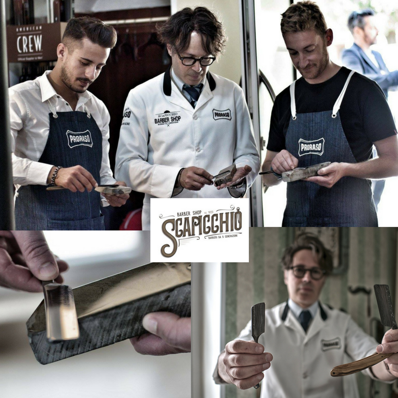 Workshop 'Sharpening authentic straight razor'By Luigi Scapicchio (English)One of the ancient active barber families in the world, the Scapicchio family, is an expert in traditional Italian shaving with straight razor antique. At BarberSociety Live, they will give a workshop on how to keep straight authentic razors sharp on behalf of Proraso/Intervoll.So bring your straight razor with you and they'll sharpen it for free! -