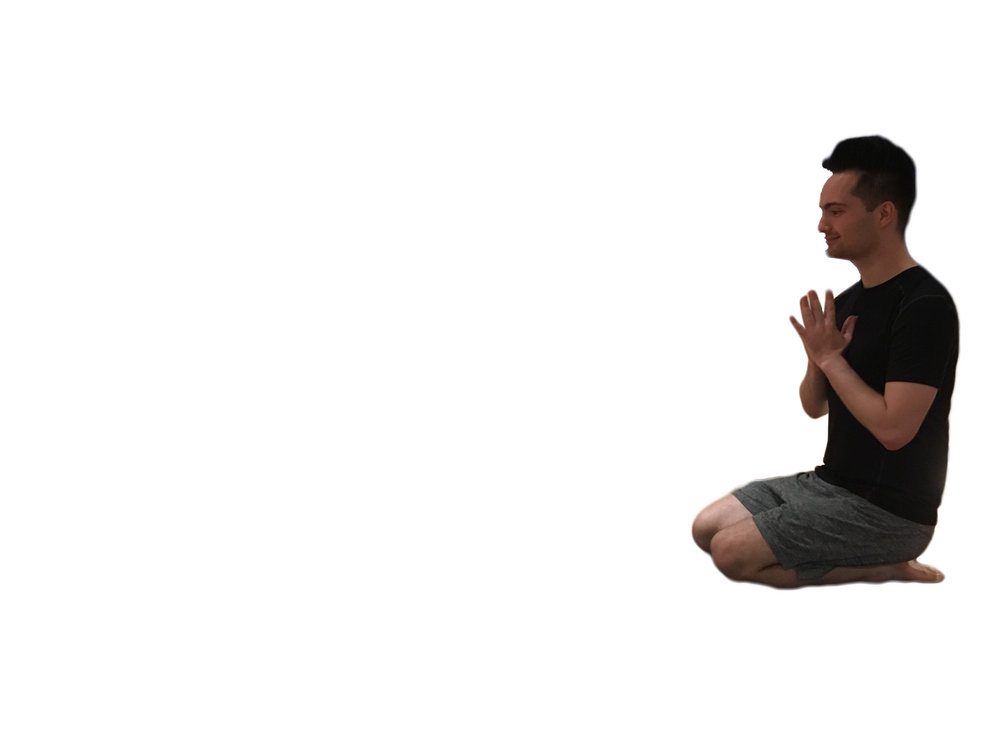 1.Start kneeling with your hands in prayer position. Take a breath in.