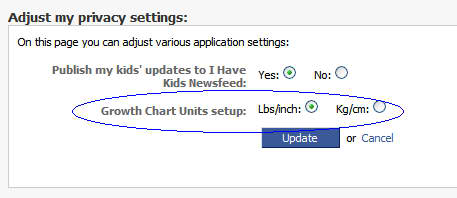 Units settings