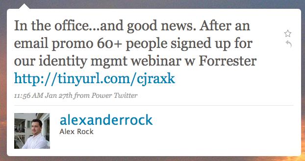 Alex's Webinar Tweet