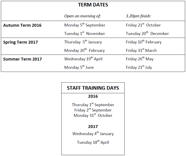 NB 2017-18 dates for the 5 additional staff training days are not confirmed yet