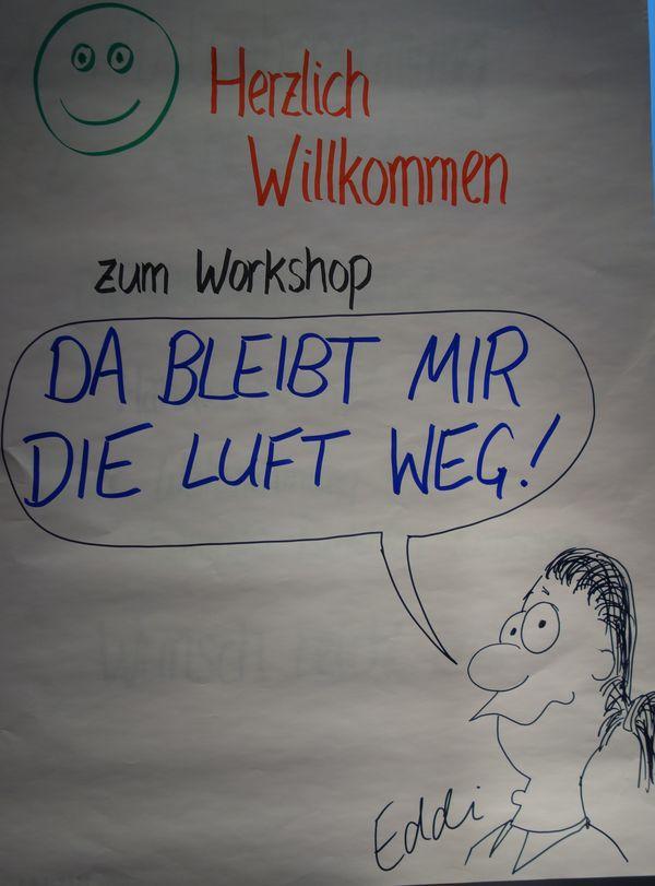 """Dieses Flipchart erwartete die Teilnehmerinnen des Workshops zum Thema """"Stimme und Stress""""."""