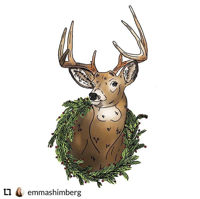A deer named Moose | illustration #happyholidays #merrychristmas #deer #buck #adeernamedmoose #illustration #illustrator #drawing #design #graphicdesign #art #create #wildlife #taxidermy #wreath #card #penandink #watercolor #hunting #moose