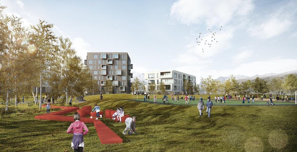 """MINI-CHARLOTTENLUND: Einerhagen håper å få skape et """"Mini-Charlottenlund"""" tilknyttet boligområdet. Dette skal etter planen være en perfekt møteplass for hele bydelen, med gode tilbud for fysisk utfoldelse."""