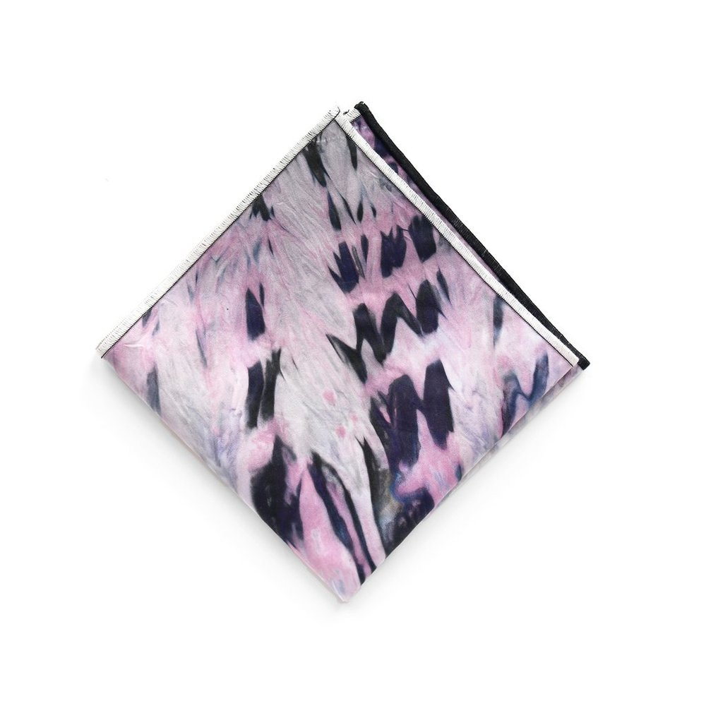 Hand-Dyed Pocket Square in Midnight Sun