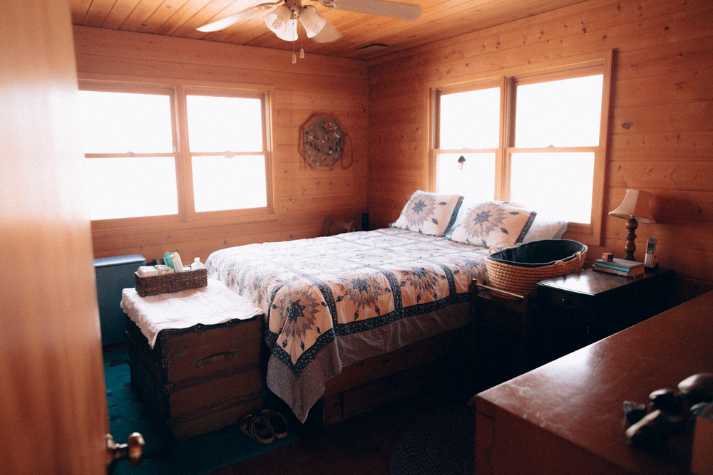 The bedroom at the birthing cabin