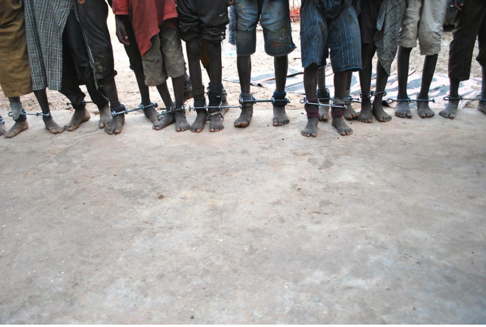 Boys between 6 and 14 years old were found shackled at a Quranic school in Senegal in February 2016, Photo by Boucar Aliou Diallo for Le Quotidian