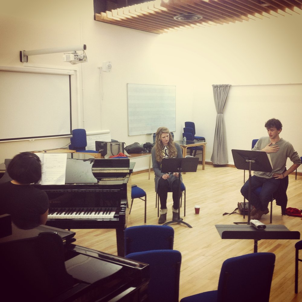 Évariste Opera vocal score rehearsal, early 2015. Callie Swarbrick as Examiner Pochon and Jonathan Hyde as Évariste..JPG