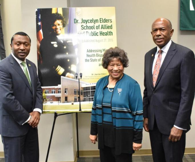 President Roderick L. Smothers, Sr., pictured with Dr. Joycelyn Elders, '52, and Dr. James Hildreth, 12th President and CEO of Meharry Medical College.