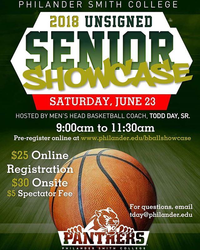 🏀CALLING ALL BALLERS!!🏀 Put your talent on display at the 2018 Men's Basketball Senior Showcase.  Register now at philander.edu/bballshowcase